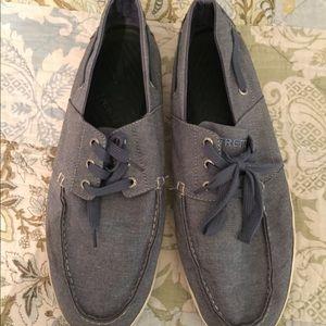 Men's sz14 chambray Tretorn boat shoes